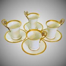 Tressemann and Vogt  Limoges Antique Set of 4 Chocolate Cup & Saucers  Art Nouveau Heavy Gold Trim