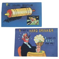 Pair Original Nightclub Vintage Postcards  I'm Not a Hard Drinker Its  Easy For Me!
