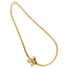 Vintage Gold Tone Heavy Flat Chain with Assymetrical Butterfly