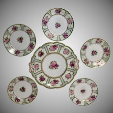 Hand Painted Nippon late Victorian influenced 6-Piece Dessert Set Tray Dishes Gold Trim