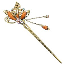Vintage Chinese Hair Stick Brass Filigree Beads and Crystals