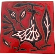 Jean Lurcat  Hand Signed Ceramic Tile with Anthropomorphic Bird circa 1920's- 30's.