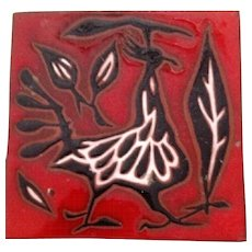 Jean Lurcat  Hand Signed Ceramic Tile with Anthropomorphic Bird circa 1920's- 30's.