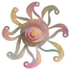 Retro  Copper Sun Wall Sculpture with Multi Color Patina Finish, signed