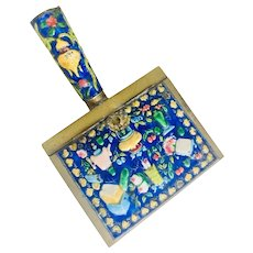 Chinese Vintage Cloisonne Moriage Enamel Secret Butler/Crumb Catcher Brass Box