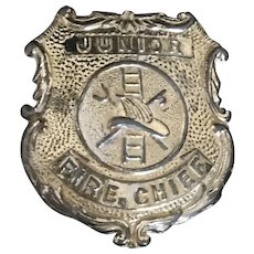Vintage Tootsie Junior Fire Chief Badge, 1950's