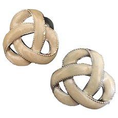 Vintage Enamel Ivory Marble Knot Pierced Earrings Silver-tone Metal