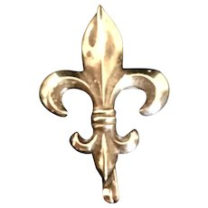 Antique 10 Karat Gold Fleur de Lis Watch Pin Brooch Pendant