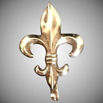 Antique 10 Karat Gold Fleur de Lis Watch Pin Brooch Pendant