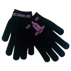 DKNY Absolut Vodka Black Knit Gloves Premium, 1980's