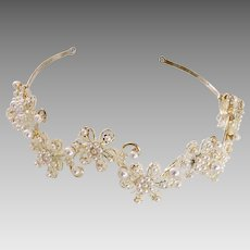Pearl and Silver-tone Scalloped Filigree and Floral Motif Headband/Hair Jewelry