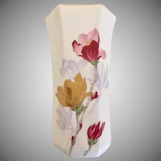 Vintage Tall Hexagon Asian Vase with Gold Trim Large Flowers Pinks with Gold, signed