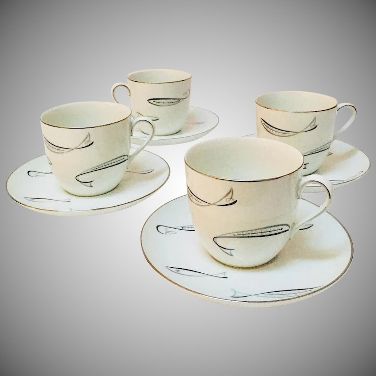 1950 S Atomic Fish Noritake 1359 Set Of 4 Large Coffee Cups With Saucers