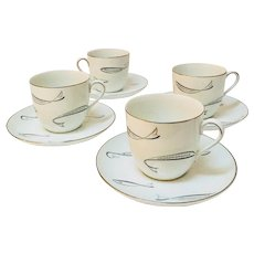 1950's Atomic Fish Noritake #1359 Set of 4 Large Coffee Cups with Saucers