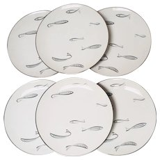 Noritake Mid Century Modern Atomic Fish Dinner Plates - Set of 6 Pattern #1359