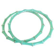 Vintage Enamel Turquoise Bamboo Bangle Bracelets - a Matching Pair!
