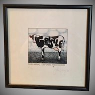 """"""" Subliminal Defense Mechanism"""" Cow Lithograph Signed/Numbered  by John Carroll Long, Syndicated Artist"""