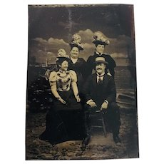 Rare Antique Ferrotype - Tin Type Photograph of a Group of Merry Boaters by the Shore, 1890's