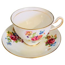 Vintage Clare Bone China Teacup and Saucer with Gold Trim, 1960s