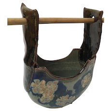 Vintage Asian Pottery Water Vessel with Bamboo Handle
