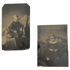 Antique Pair of Tin Type Children's Formal Portraits with Studio Backdrops