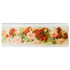 Vintage Lithograph Yard of Roses Victorian Era by Gallery Graphics, USA