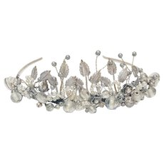 Vintage English Garden Tiara, 1980s Hand Wired Design