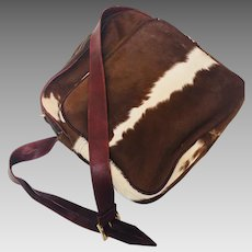 724b9ab5d1b1 Vintage Natural Cow Hide Purse trimmed with Leather