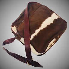 Vintage Natural Cow Hide Purse trimmed with Leather