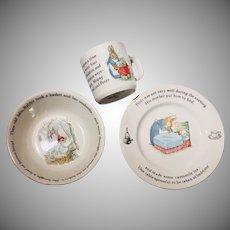 Vintage Wedgwood Porcelain Child's 3 Piece Feeding Set