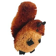 Vintage Folk Art Bottle Brush Squirrel Natural Fiber