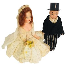 Celluloid  Bride and Groom Dolls Sleepy Eyed in Crochet Gown and Tuxedo