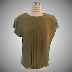 Kristen 100% Silk Pleated Front Button Back Shell Blouse, 1980's