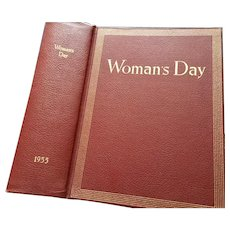 1955 Woman's Day Bound 12 issues from 1955 Burgundy Hardcover