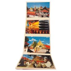 Vintage Bangkok Thailand Postcard Folder Bright, Vivid Buddha and Temple Photographs