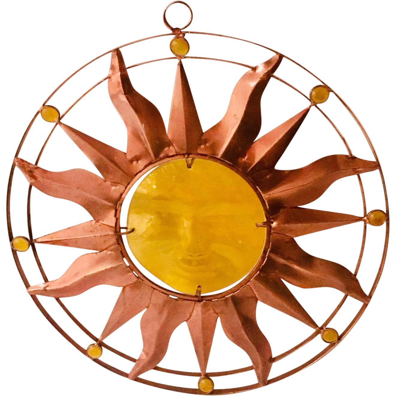 Vintage Copper and Glass Yellow Sun Face Large Wall : Art and Found ...