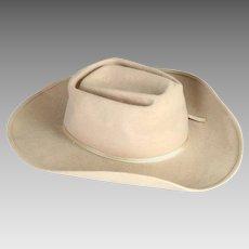 Clearance!  Vintage Felt Child's Cowboy Hat, Beige, 1960's