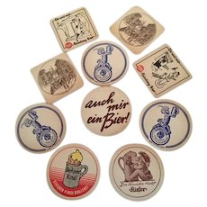 10 European Beer Coasters - brought back by WWll Veteran, 1950's