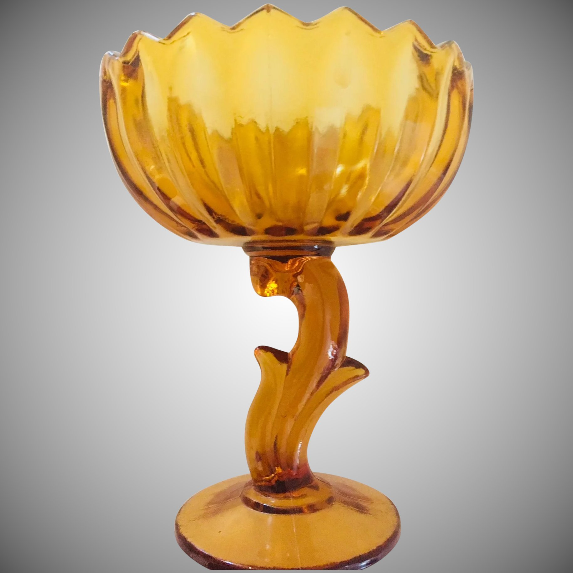 Indiana Glass Lotus Flower Amber Glass Compote Candy Dish Art