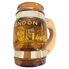 Vintage Benner Glass Siesta Ware London Souvenir Mug Amber Glass Wood Handle