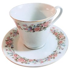 Vintage Tea Cup and Saucer with Ring of Pink Roses
