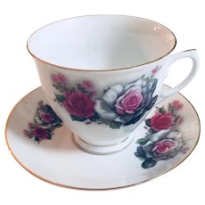 Vintage Tea Cup and Saucer with Floral Design and Gold Rim, Signed, made in China