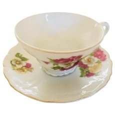 Vintage Porcelain Tea Cup and Saucer Pansies and Flowers Gold Trim
