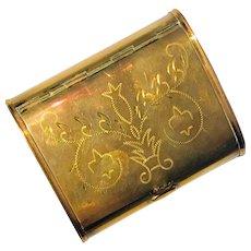 Art Nouveau  Brass Spring Hinge Tobacco/Snuff Box Circa 1910