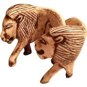 Hand Carved Bone Lion Sculptures 1950's South Africa