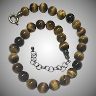 Hand Knotted Tiger Eye 12mm Bead Necklace with Adjustable Pewter Clasp