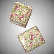 Portland Pottery Cobridge  Chintz Trinket Box and Set of 8 Tidbit Trays