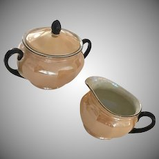 Mid Century Lusterware Sugar and Creamer in Peach Black  Czechoslovakia 1950s