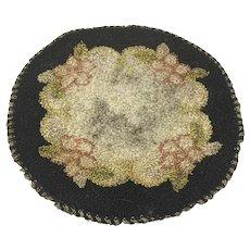 Victorian Silk Doll House Rug Floral on Black