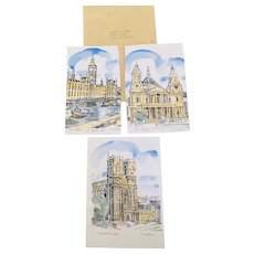 3 Vintage Colored Historic London Signed Prints  I McIver